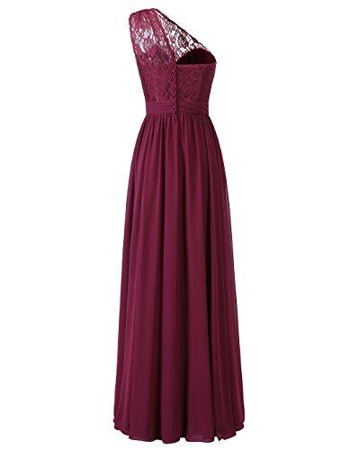 Alagirls Des Femmes De L'une Des Robes De Demoiselle D'honneur Dentelle Épaule Avec Des Robes De Bal En Mousseline De Soie Long Ruban Violet