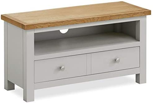 Roseland Furniture Farrow Small TV Stand/Painted TV Unit/Stone Grey with Oak Top & Drawer