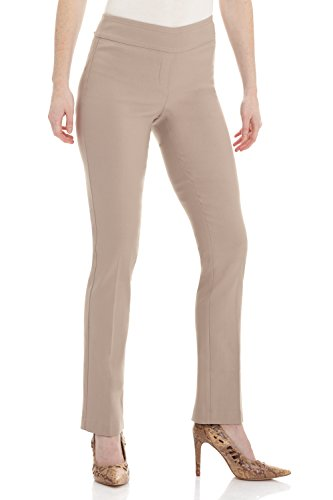 Tailored Slim Pant (Rekucci Women's Ease In To Comfort Straight Leg Pant With Tummy Control (6SHORT,Khaki))