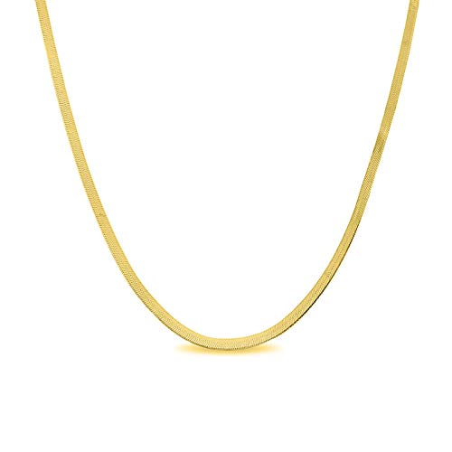 Verona Jewelers Sterling Silver 2.5MM, 3.3MM Italian Herringbone Flat Snake Magic Chain -Gold Plated Herringbone Chain Necklace, Gold Over Silver Necklace for Men and Women (16, 2.5MM) (Chain Herringbone Necklace)