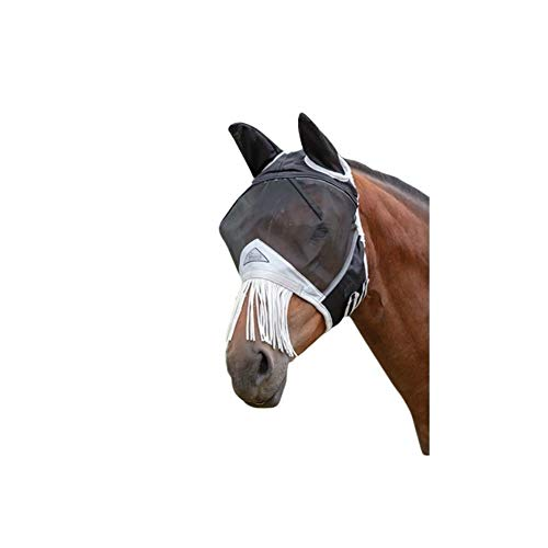 Shires Fine Mesh Fly Mask with Nose Fringe, Black, -