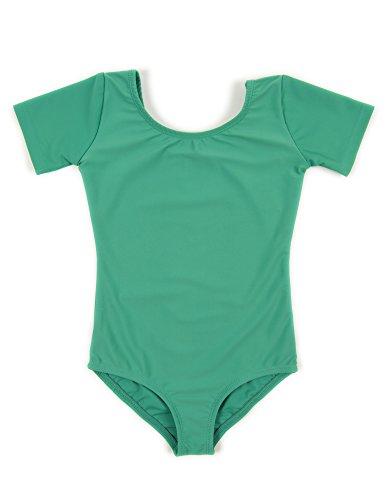 Leveret Girls Leotard Basic Short Sleeve Ballet Dance Leotard Kids & Toddler Shirt (Toddler-14 Years) Variety of Colors