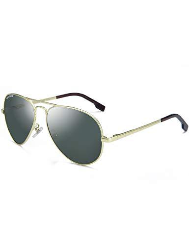 VEGOOS Aviator Sunglasses for Men Women Polarized Driving Sunglasses UV Protection (Gold Frame/Green Lens) ()