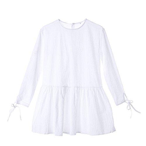 Summer-lavender Women Casual Long Sleeve Cotton Mini Dress Casual Loose Pleated Short Mini Dress,White,M ()