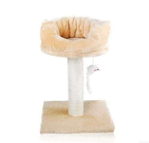 Climbing Tree Sisal Hanging Mouse Cat Climbing Frame Double Cat Scratch Board Pet Toy Cat Jumping Platform Claw Column 40cm30cm30cm Double Color Optional (Color : Beige)