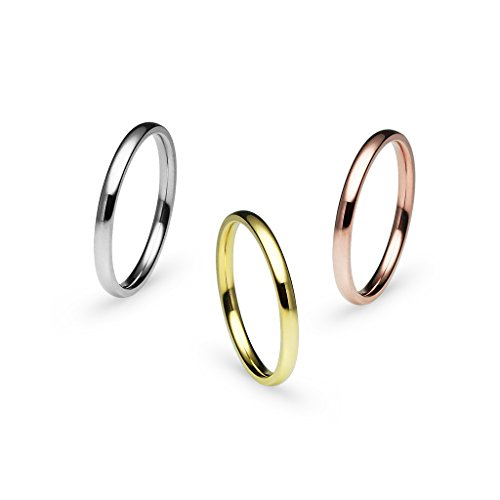 (Silverline Jewelry 3pcs 2mm Stainless Steel Women's Plain Band Fit Tricolor Tone Size 5)