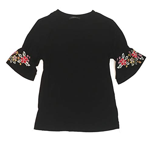 August Silk Silk - August Silk Ruffle Sleeve Womans T-Shirt with Embroidery (Large, Black)