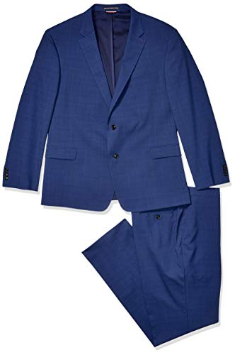Tommy Hilfiger Men's Big and Tall Modern Fit Performance Suit with Stretch, Deep Blue Plaid, - Suit 50r