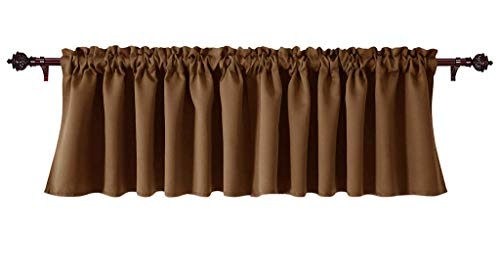 (Green Team Linens Decorative Polyester Window Valances Solid Chocolate Gathered Style (60 x 18 x 3 Inch Rod Pocket), 1 Pack - Suitable for Kitchen, Living Room, Bedroom, Cafes)