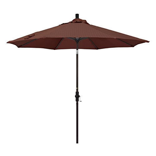 California Umbrella 9' Round Aluminum Market Umbrella, Crank Lift, Collar Tilt, Bronze Pole, Terrace Adobe Olefin