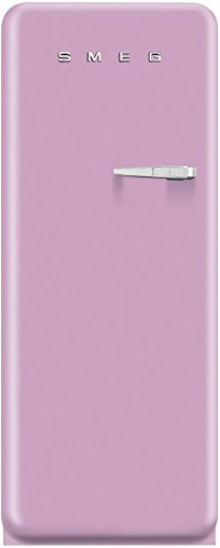 Smeg FAB28UPKL1 50s Style 9.2 Cubic Feet Pink Left-hand Refrigerator with Freezer Compartment
