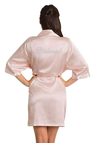 Zynotti Women's Silver Thread Embroidered Bridesmaid Getting Ready Bridal Party Wedding Kinomo Blush Pink Satin Robe, S/M (2-12)