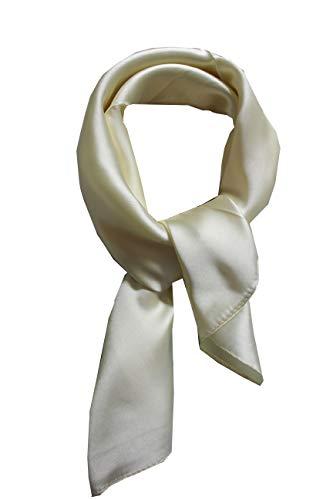 Womens Silk Blend - Silk square scarf pure color head scarf blend neckerchief (Beige)