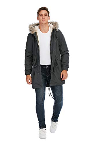TIENFOOK Men Parka Jacket Winter Coat with Drawstring Waist Thicken Fur Hood Lined Warm Detachable Design Outwear Jacket (Dark Grey, Medium)