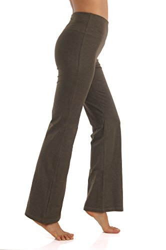 ZEROGSC Women's Yoga Pants - Workout Running Tummy Control Stretch Power Flex Boots Cut Leggings (YPW116-Olive-X-Large) - Power Stretch Bootcut Pant
