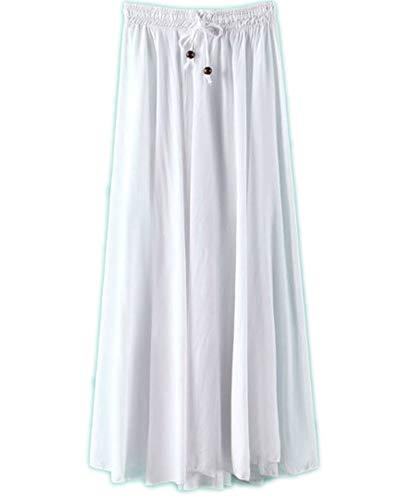 Femme Pliss Taille Haute Jupe Jupes Maxi de Casual Blanc Plage Longue 4Tqawxn6