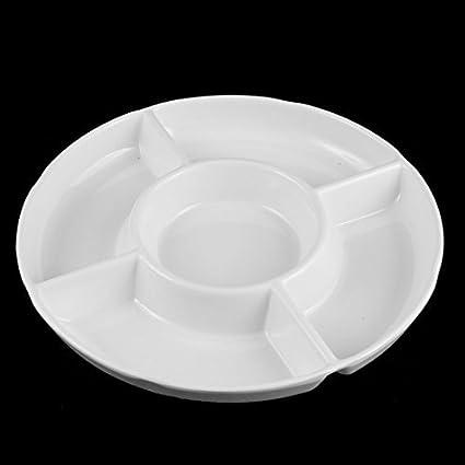 DealMux Plastic 5 seções Frutas Sushi Dividido Platter 9 Inch Dia