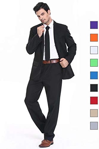 U LOOK UGLY TODAY Men's Party Suit Black Solid Color Bachelor Party Suit-Small -