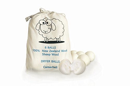 Environmentally Friendly Fabric (Wool Dryer Balls 6-Pack - Natural Fabric Softener that Saves Energy and Drying Time - Reusable / Anti Static Cling / Hypoallergenic and Environmentally Friendly by Camacheli)