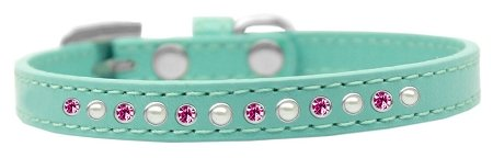 Mirage Pet Products Pearl and Pink Crystal Aqua Puppy Dog Collar, Size 8 by Mirage Pet Products