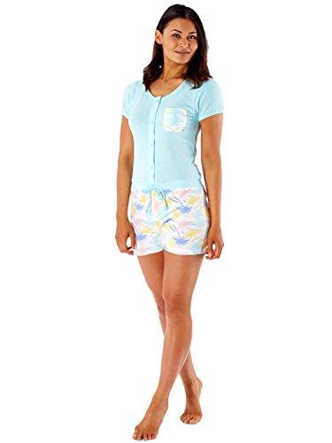 Secretos selena corta de las señoras de la manga del algodón puro corto Onesie pijama de LN407 Aqua