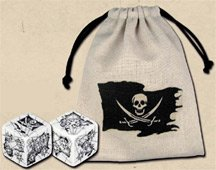 Q-Workshop: 2 Dice / Bag Combo Set - Carved PIRATE d6 Dice / Die (Black & White)