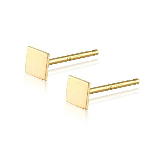 BallucciToosi Square Stud Earrings -14k Real Yellow Gold Girls Women Christmas Gift - Small and Minimalist Stud Earrings