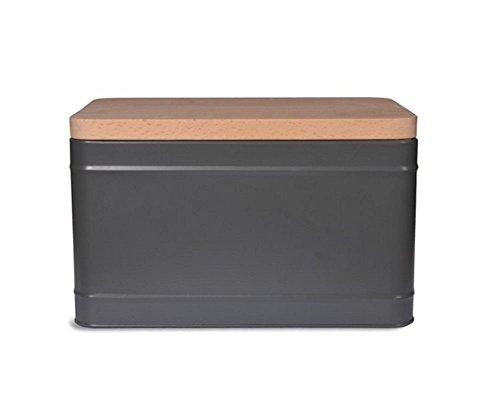 Garden Trading Steel Borough Bread Box Bin in Charcoal with Beech Wood Chopping -
