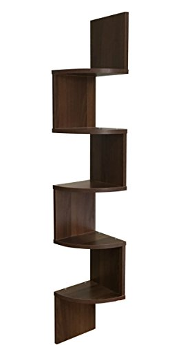 EWEIS HomeWares 5 Tier Large Corner Wall Mount Shelf, Walnut