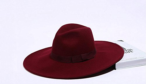 Brim Large Wool Hat Red (AOBRITON Unisex Wool Jazz Hat British Vintage Solid Wide Brim Panama Fedora Casual Cap)