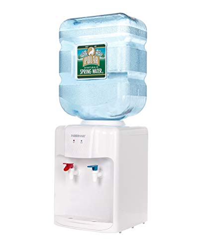 (Farberware FW-WD419 Freestanding Hot and Cold Water Cooler Dispenser, Countertop White)