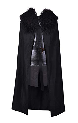 Crystal Dew Jon Snow Costume Cosplay Knights Watch Costume Cape for Men and Kids]()