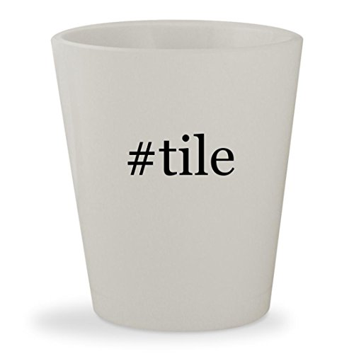#tile - White Hashtag Ceramic 1.5oz Shot Glass (Tile Porcelanosa Ceramic)