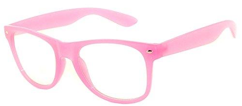 Classic Vintage Clear Lens Sunglasses Retro 80's Baby Pink - Clear Wayfarer Glasses Wholesale