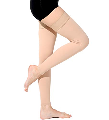 Ailaka Thigh High 20-30 mmHg Compression Sleeves for Women and Men, Firm Support Graduated Varicose Veins Stockings, Travel, Casual-Formal Hosiery