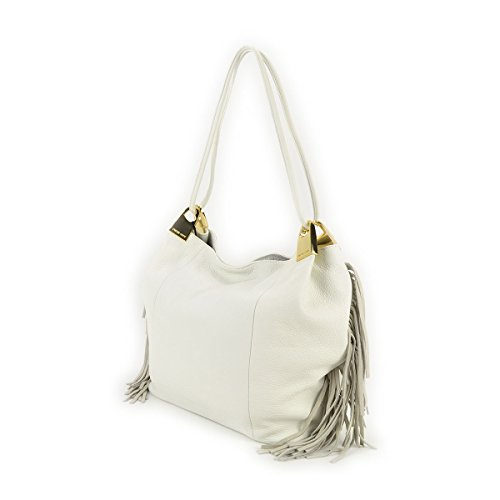 Borsa donna a spalla con frange TWIN-SET in Vera pelle - AS67XA Beige Madreperla
