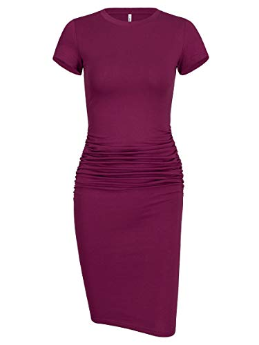 Women's Ruched Casual Solid Color Bodycon Midi Club Dress(Short Sleeve Purple Red,X-Large)