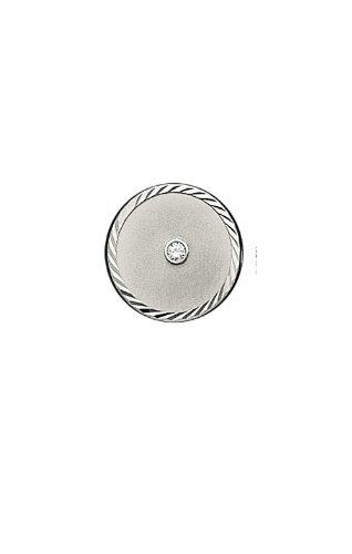 14K White Gold Round Tie Tac with Swirl Border-86249