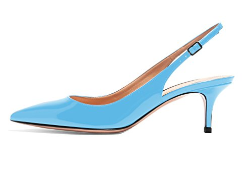 elashe Womens Pointed Toe Pumps 6.5cm Slingback Dress Court Shoes for Wedding Party Blue EacBH78Nh