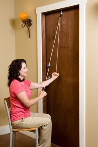 RangeMaster – PinkPulley Shoulder Pulley for Physical Therapy Exercises with Cancer Care Instructional Guide - Metal Bracket Door Attachment
