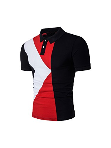 HerZii Hombre Camisetas Moda Polos de Corta Manga Negro/Rojo Negro