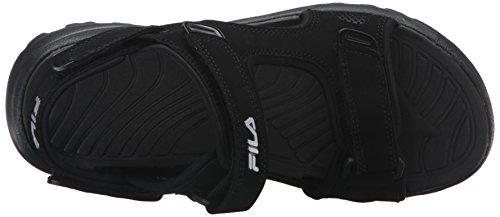 Fila Men's Transition Athletic Sandal, Black/Black/Metallic Silver, 12 M US