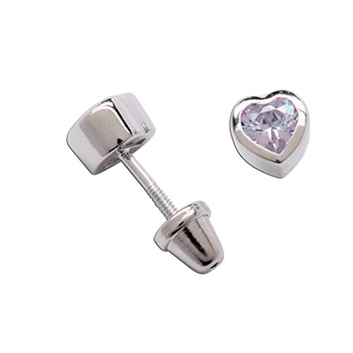 Girls Sterling Silver June CZ Simulated Birthstone Heart Earrings with Screw Back (6mm)