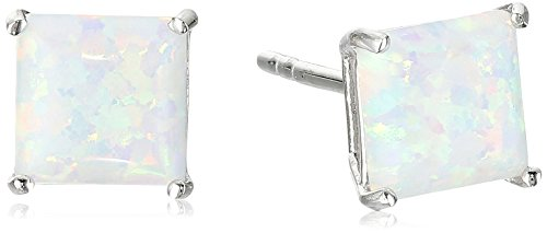 Sterling Silver with Created Opal Stud - Natural Opal Earrings Stud