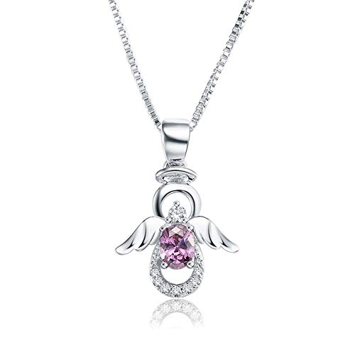 SKA Jewelry Angel Necklace for Girls Women Purple Cubic Zirconia Lovely Angel with Wings Pendant Chain Necklace Adjustable 20