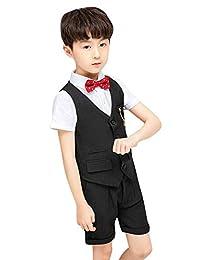 La Vogue Boys Wedding Party Tuxedo Gentleman Suit Set 5 Piece Summer Suit Vest Short Shirt Pants Bowtie and Brooch