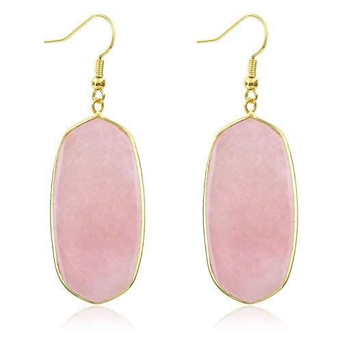 - Stone Crystal Dangle Drop Earrings Teardrop/Oval Stylish Jewelry for Women Ladies Girls (Rose Quartz(Oval))