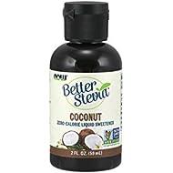 NOW Foods, Better Stevia, Liquid Zero-Calorie Sweetener, Coconut Flavor, Low Glycemic, Certified Non-GMO, 2-Ounce