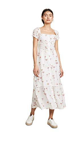 Rahi Women's Staycation Lace Dress, Sushi Voile, White, Print, X-Small