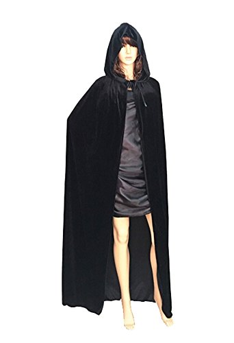 Witch Vampire Princess Cape Long Velvet Robe Halloween Cosplay Costume (Black Velvet Robes)